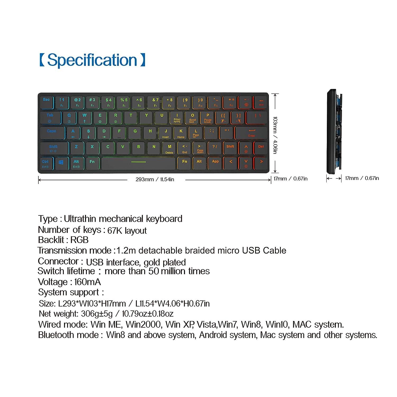 anidees AI-KB-PM Ultra d/ünne kompakte Gr/ö/ße Draht drahtlose RGB Prismatic gaming tastatur mechanisch 67 Tasten-US-Layout QWERTY