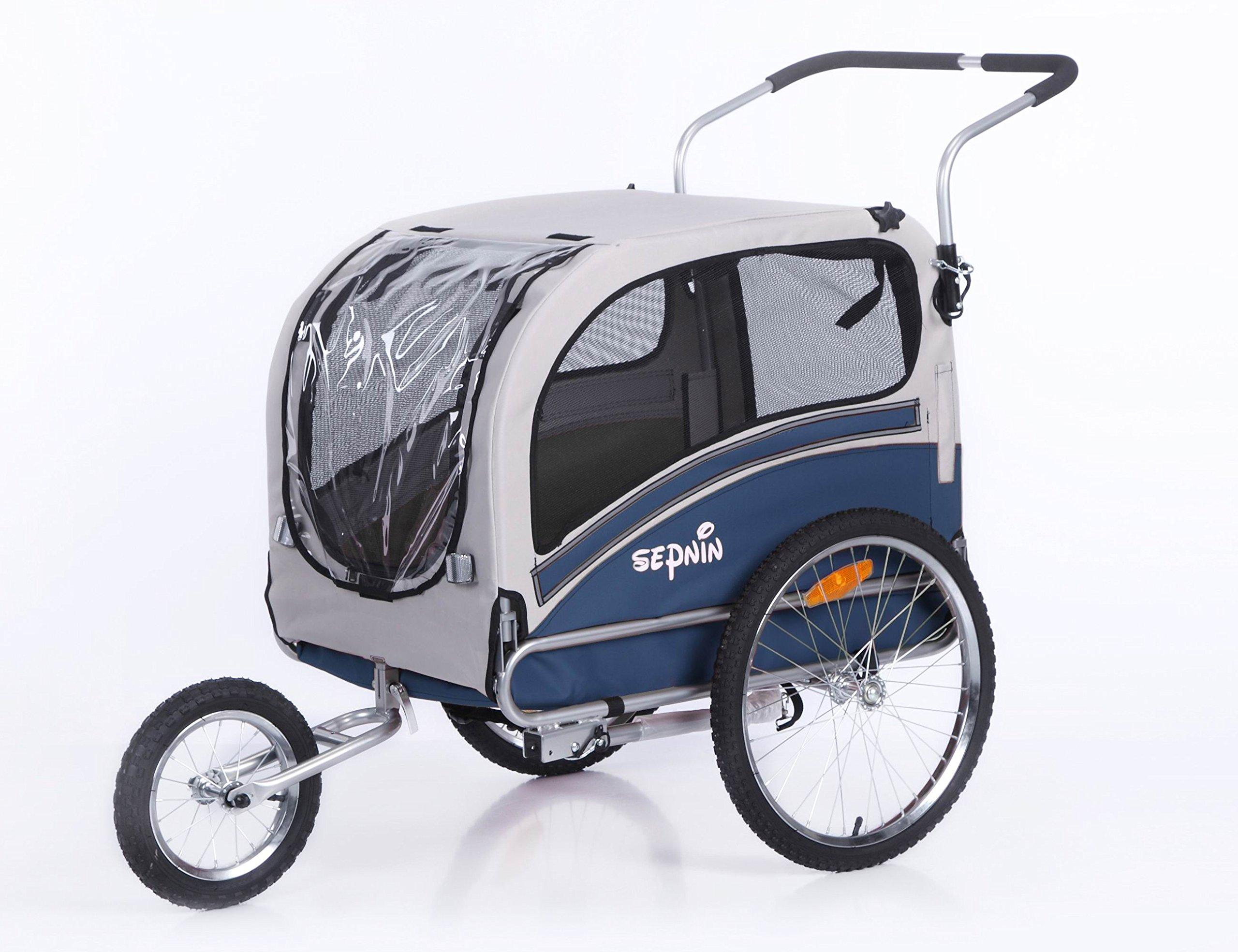 Sepnine Pet Fog Bike Trailer, Blue/Grey
