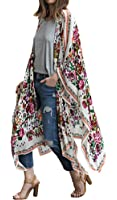 Hibluco Women's Loose Cover Ups Kimono Cardigan Oversized Chiffon Blouses Sheer Tops