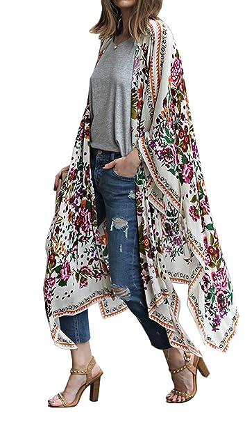 d49a12c36d Hibluco Women's Sheer Chiffon Floral Kimono Cardigan Long Blouse Loose Tops  Outwear (Small, ...