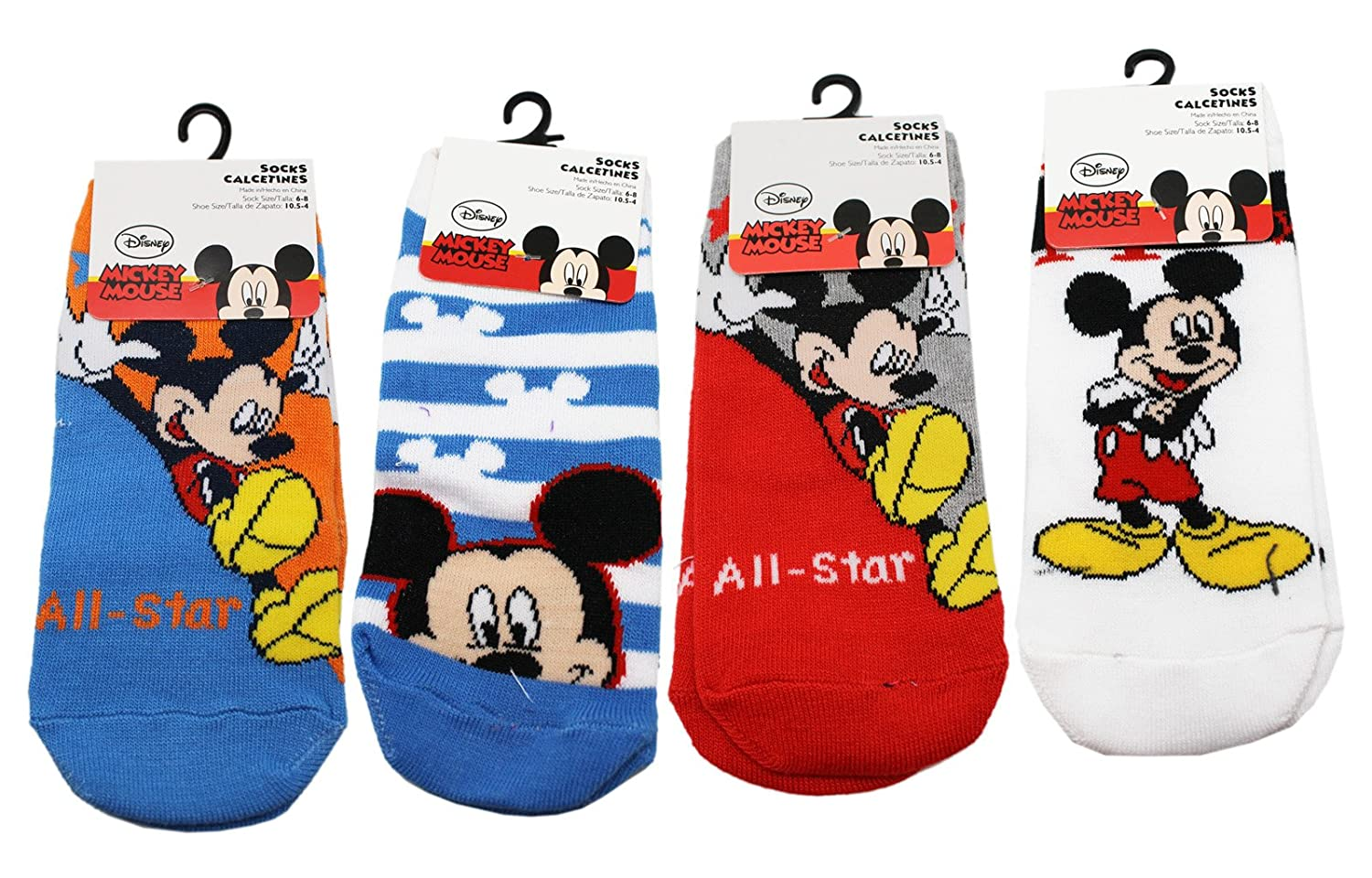 Amazon.com: Disneys Mickey Mouse Assorted Color/Design Kid Sock Set (3 Pairs, Size 6-8): Clothing
