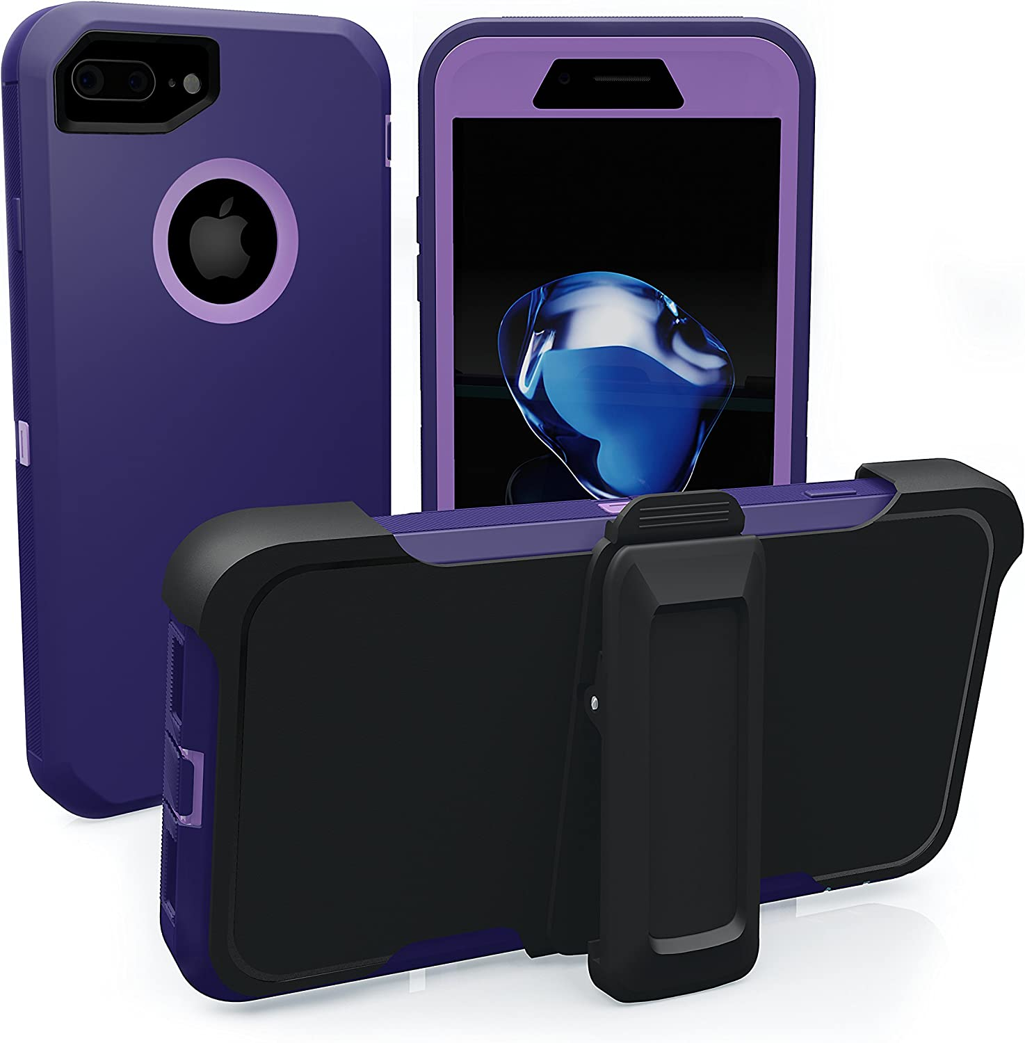 iPhone 7 Plus Case, iPhone 8 Plus Case, ToughBox [Armor Series] [Shockproof] [Purple | Violet] for Apple iPhone 7/8 Plus Case [Screen Protector] [Holster & Belt Clip] [Fits OtterBox Defender Clip]