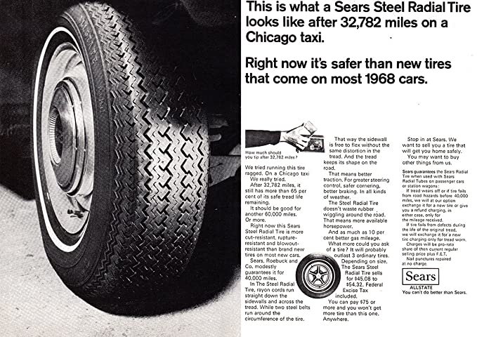 Amazon Com 1968 Sears Steel Radial Tire Chicago Taxi Sears Print