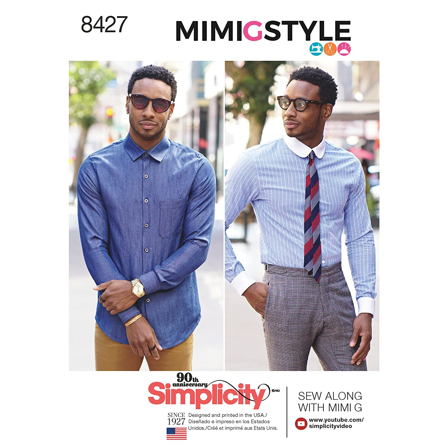 Simplicity Pattern 8427 AA Men's Fitted Shirt with Collar and Cuff Variations by Mimi G, Size 34-42 Simplicity Patterns US8427AA