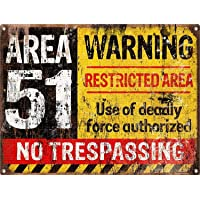 Warning Area 51 Póster De Pared Metal Retro