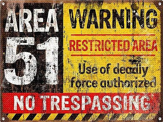 Warning Area 51 Póster De Pared Metal Retro Placa Cartel ...