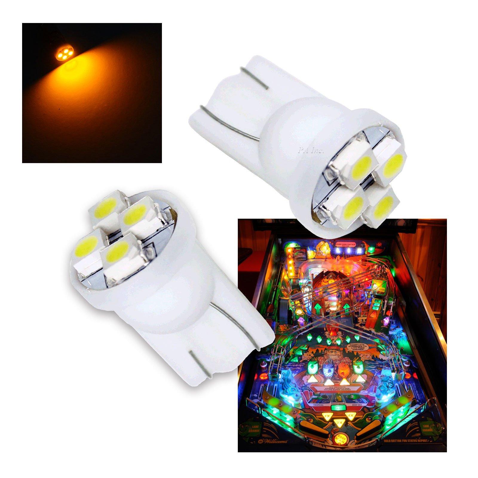 PA 10PCS #555 T10 4SMD LED Pinball Machine Light Bulb Yellow(Orange/amber)-6.3V