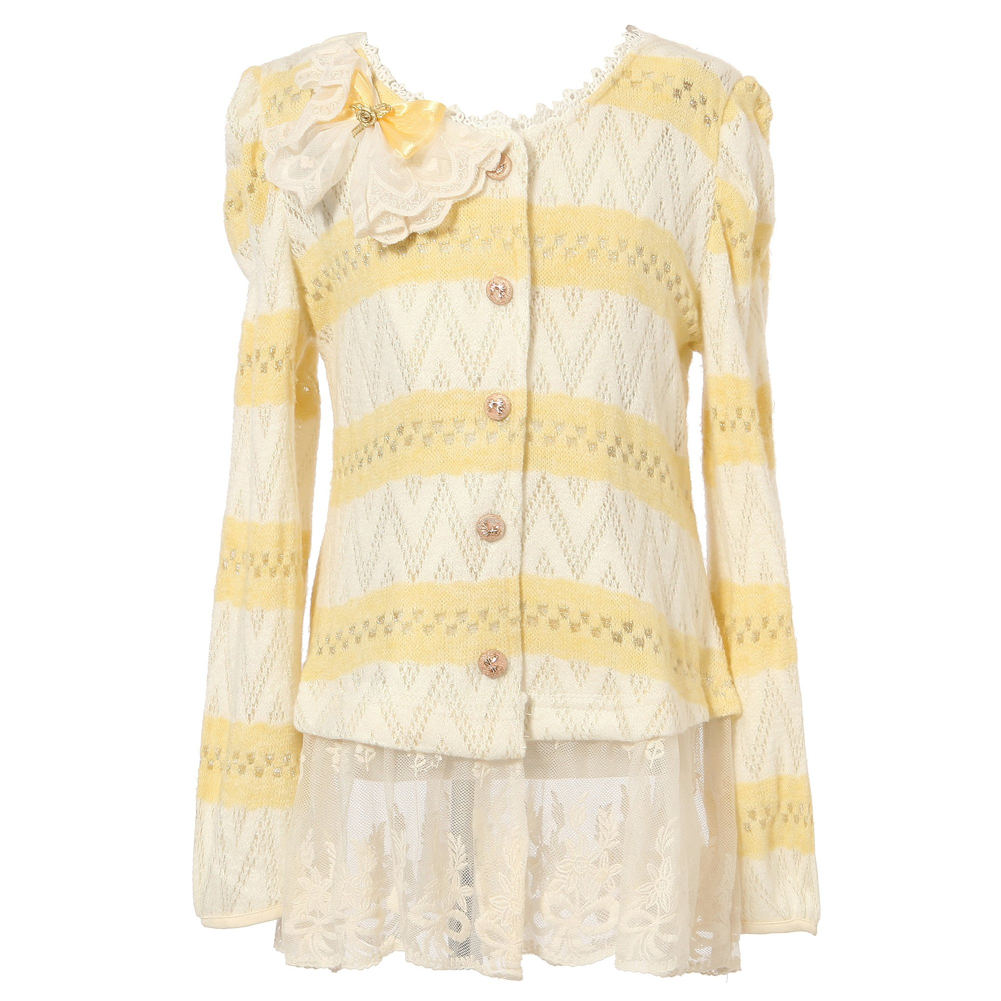 Richie House Little Girls' Cardigan Sweater with Bow Accent RH1270-B-3/4