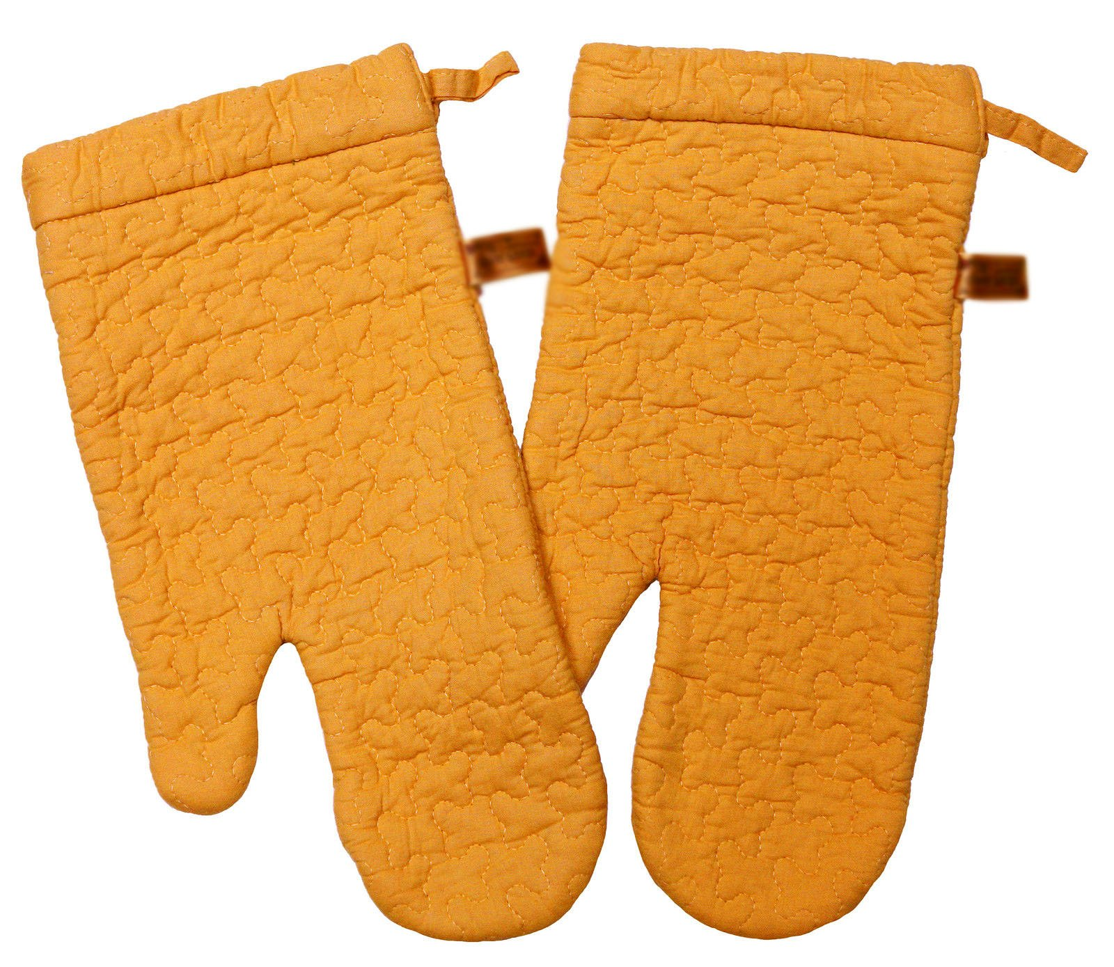 "Custom & Durable {14"" x 6.5"" Inch Each} 4 Set Pack of Mid Size ""Non-Slip"" Pot Holders Gloves Made of Cotton for Carrying Hot Dishes w/ Warm Honey Quilted Classic Puzzle Pattern Style {Yellow}"
