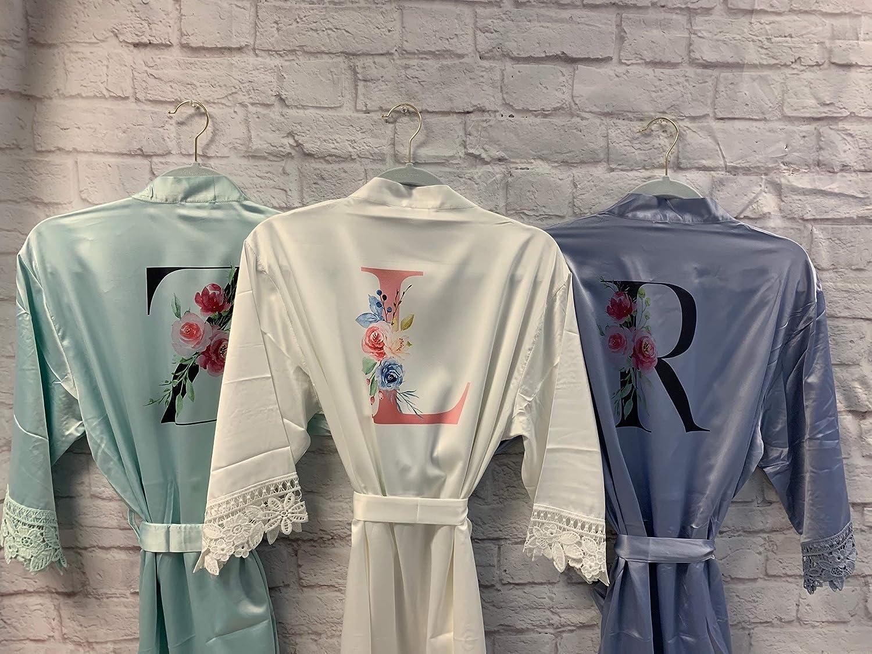 personalized bridal party gifts bridesmaids bathrobes robe bride wedding day robes Not personalized silk robes bridal kimono robe SH142