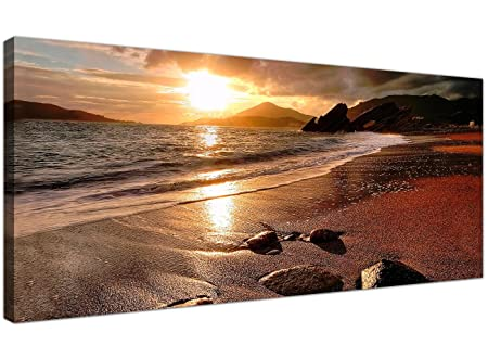 wallfillers wide canvas prints of a beach sunset for your living