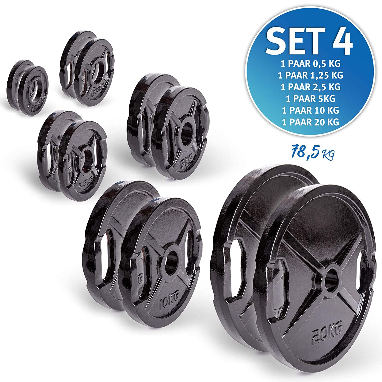 Discos de Pesas de Hierro Fundido C.P Sports 1 par, 50 mm, con Orificios para Agarre, 0,5 kg, 25 kg Cada par