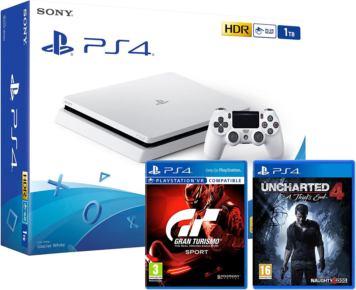 PS4 Slim blanca 1TO – Playstation 4 + Uncharted 4: A thief s End + gran turismo SPORT GT Sport