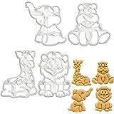 Set of 4 Baby Safari cookie cutters (Designs: Lion, Elephant, Hippopotamus, Giraffe), 4 pieces - Bakerlogy