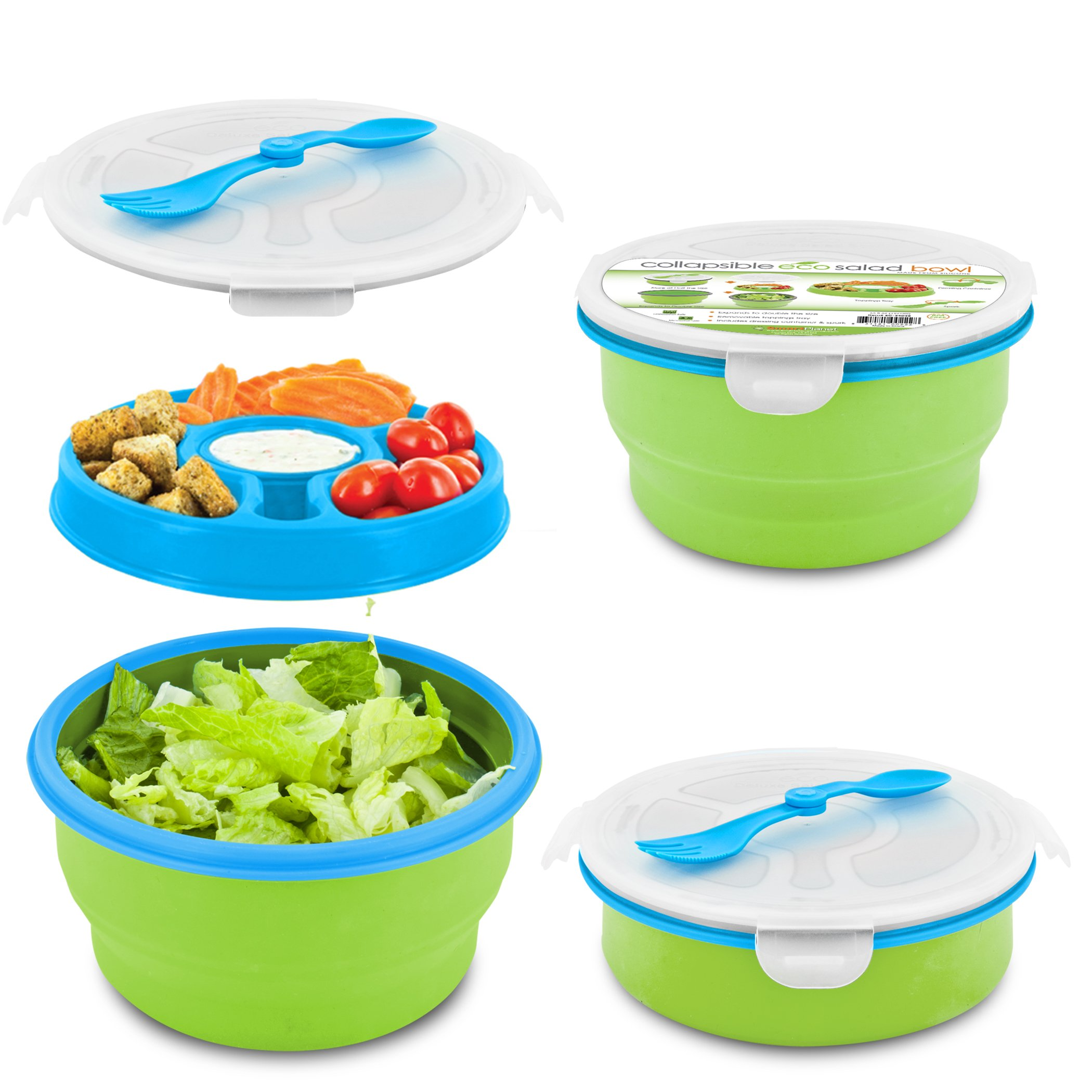 Smart Planet Eco Collapsible Salad Bowl, 65 oz, Blue/Green