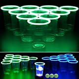 GLOWPONG Green vs Blue Glow-in-The-Dark Beer Pong Game Set for Indoor Outdoor Nighttime Competitive Fun, 12 Green vs 12…