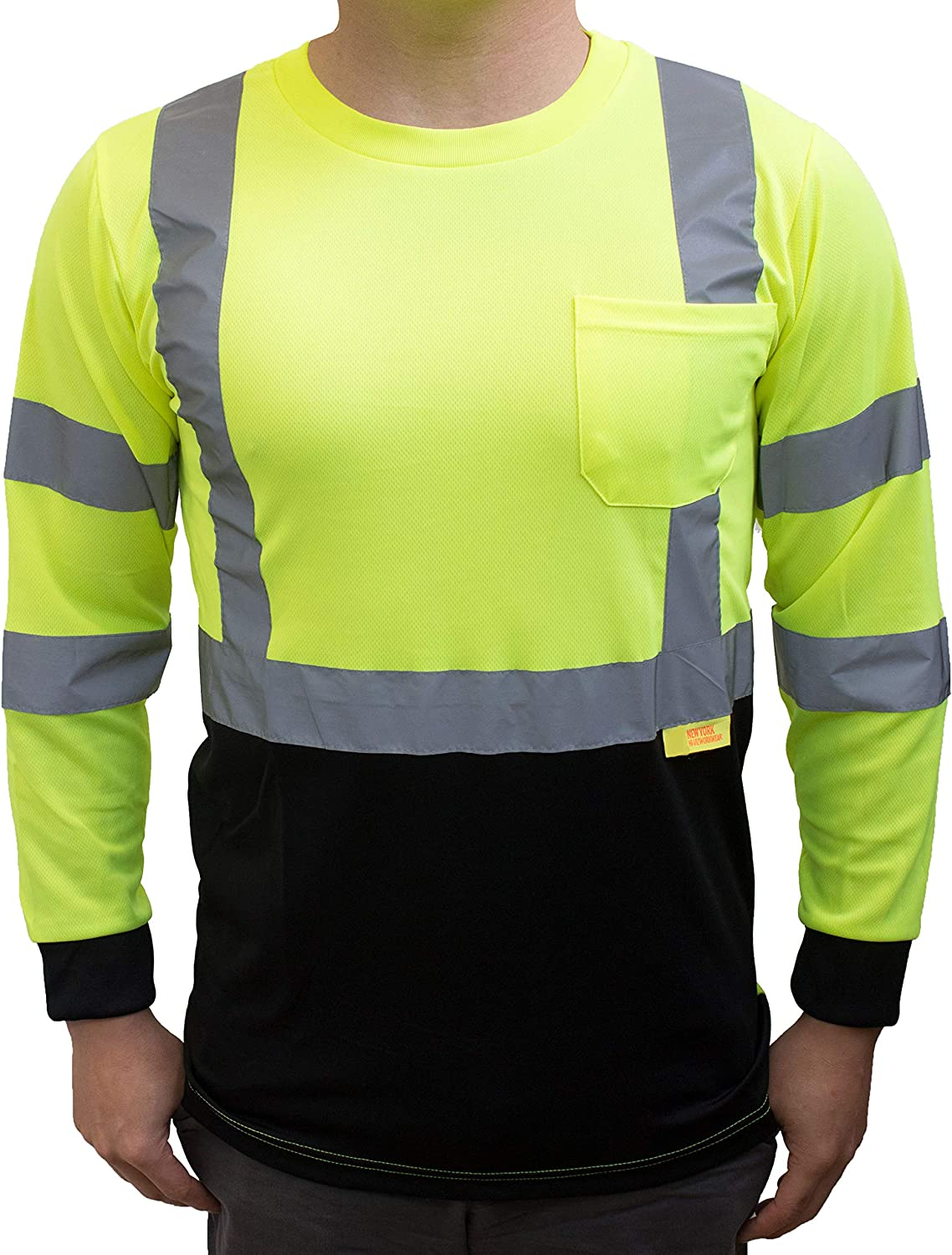 Green, Extra Large Pack of 5 Troy Safety Class 3 High Visible Long Sleeve Black Bottom Safety T Shirts Moisture Wicking Mesh with 2 Inch Replective Tapes