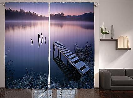 Amazon Com Lunarable Seascape Curtains Misty Lake Wooden Pier