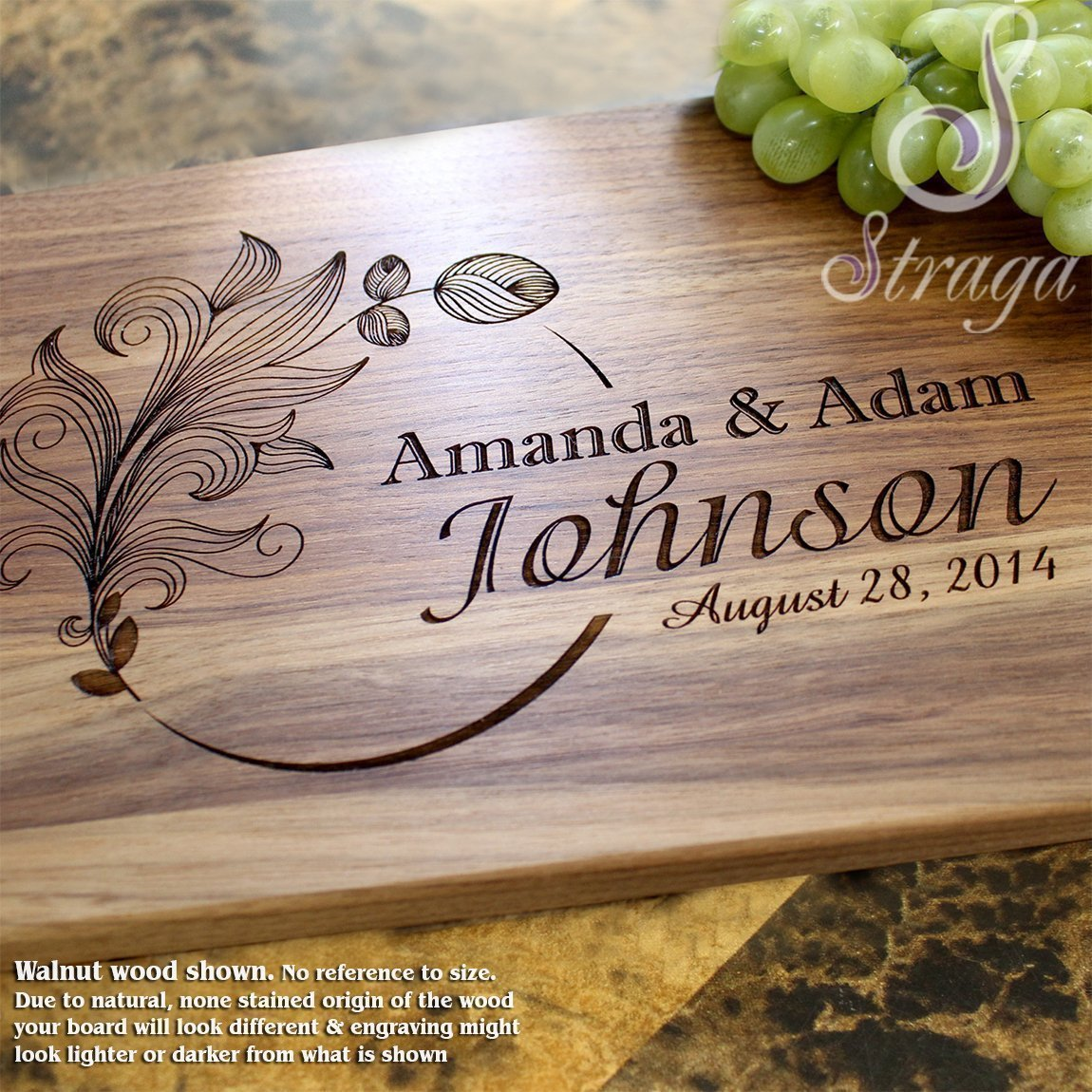 Personalized Cutting Board, Custom Keepsake, Engraved Serving Cheese Plate, Wedding, Anniversary, Engagement, Housewarming, Birthday, Corporate, Closing Gift #403