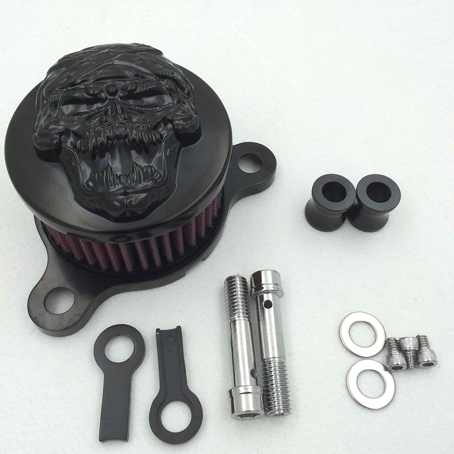 Black Skull with Cross Bone Air Cleaner Intake Filter System Kit Compatible with Harley Davidson Sportster XL883 XL1200 1988 to 2015 HTTMT MT225-010B