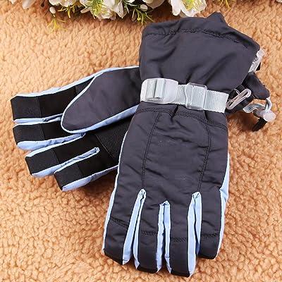 ANHPI Gants De Ski Hiver Extérieur Coupe-vent Chaud Plus épais Antidérapant équitation Sport Coton Gants De Snowboard,Blue-Onesize