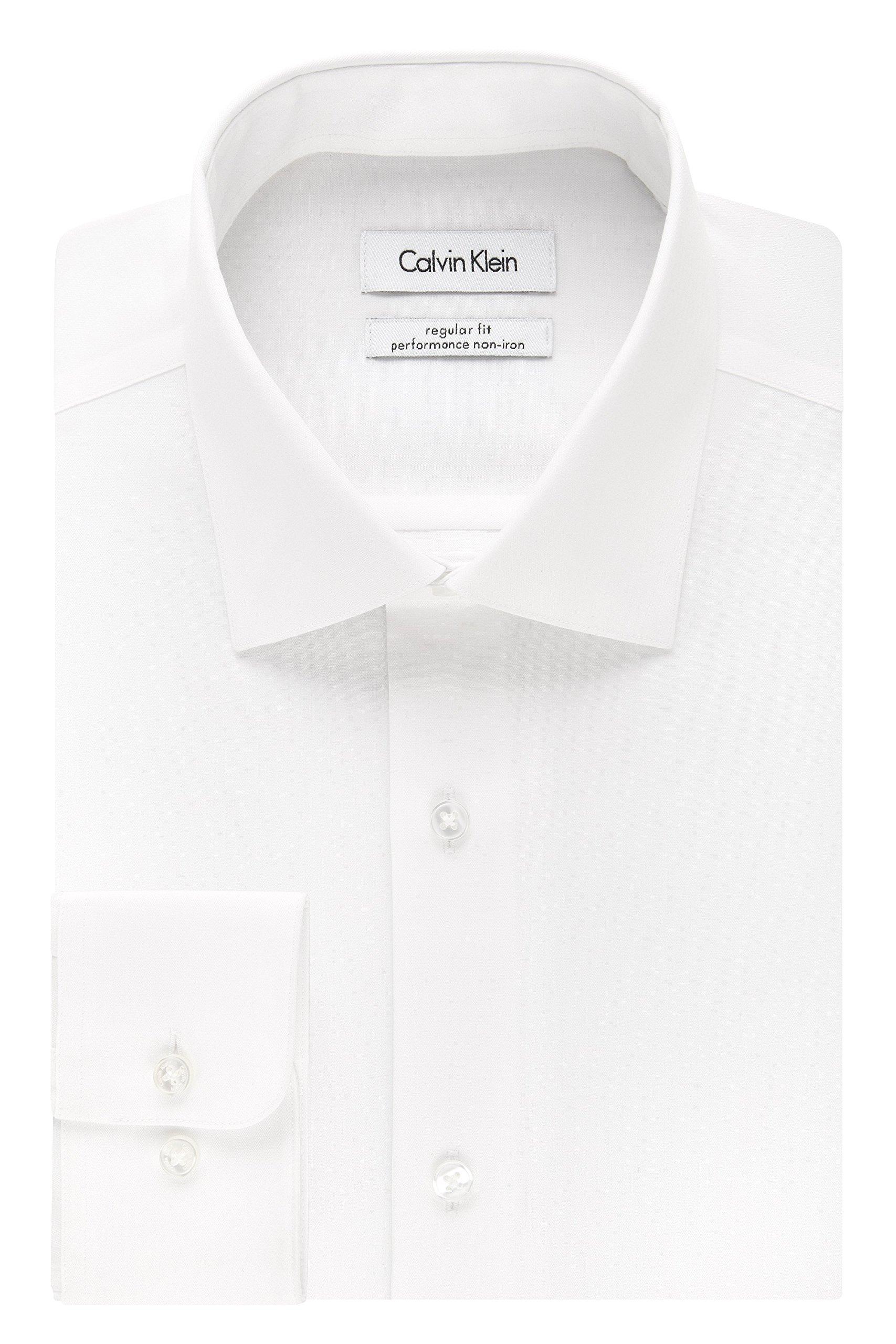 Calvin Klein Men's Regular Fit Non Iron Herringbone Spread Collar Dress Shirt, White, 16.5'' Neck 32''-33'' Sleeve