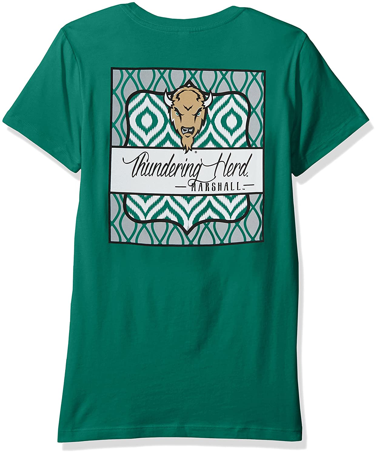 XX-Large,Kelly NCAA Marshall Thundering Herd Womens Double Pattern Scroll Favorite Short sleeve T-Shirt