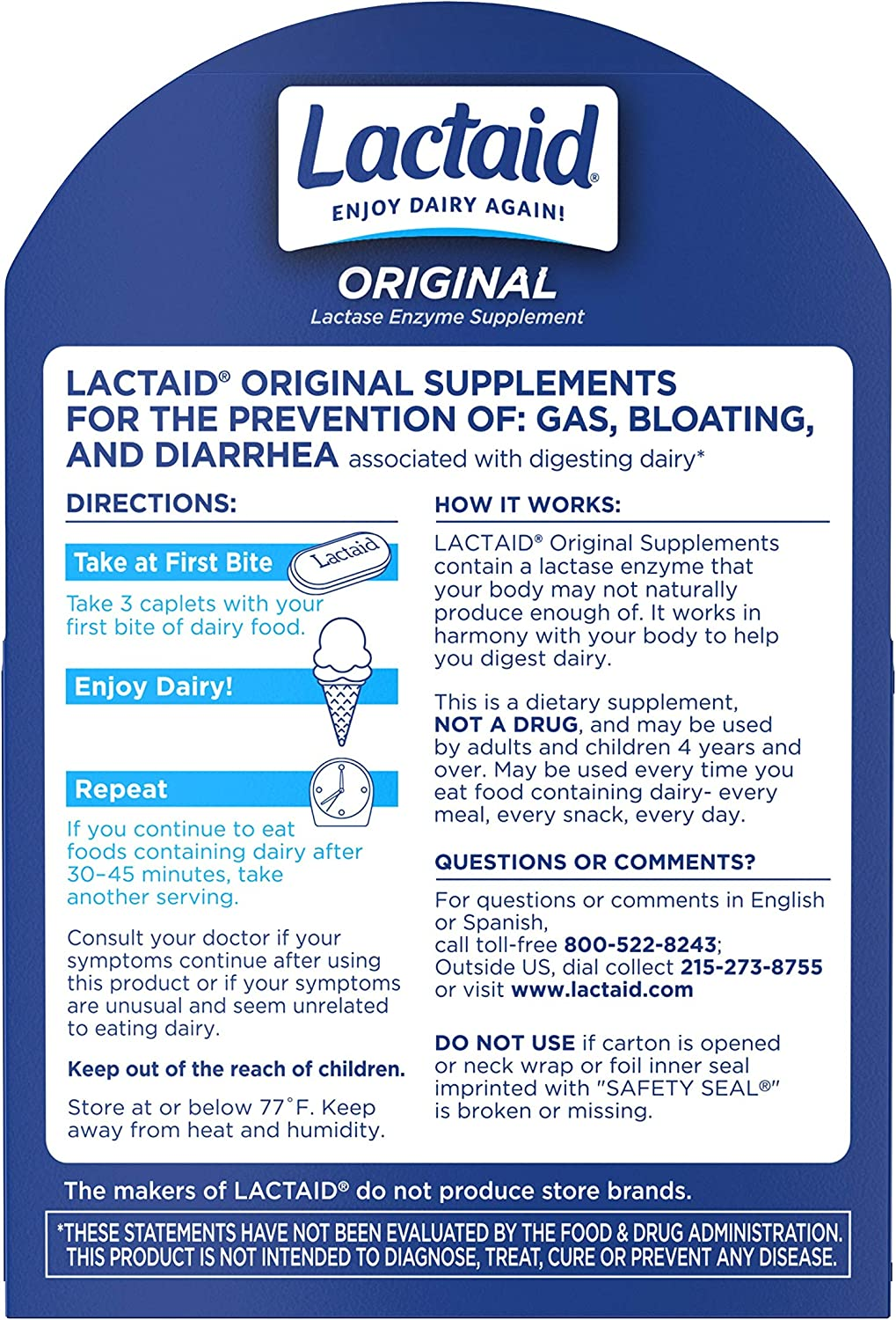 Lactaid Original Strength Lactose Intolerance Relief Caplets with Natural Lactase Enzyme, 120 ct: Health & Personal Care