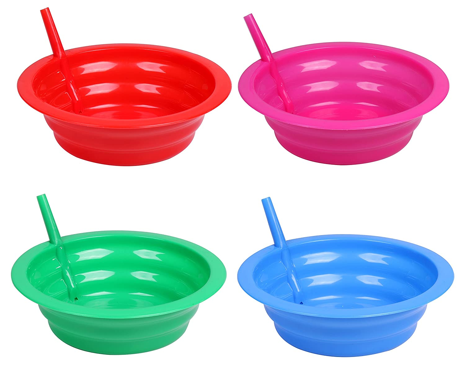 Cereal Bowl With Straw for Kids - Four Pack in Blue, Red, Green, and Pink Cibi