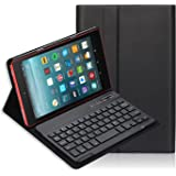 Fire HD 8 Keyboard Case, iThrough Removable Wireless Bluetooth Keyboard Stand Magnetically, Bluetooth V3.0 Keyboard Slim Light Stand Cover Shell Fire 8 (7th Gen–2017 Release) (Black.)