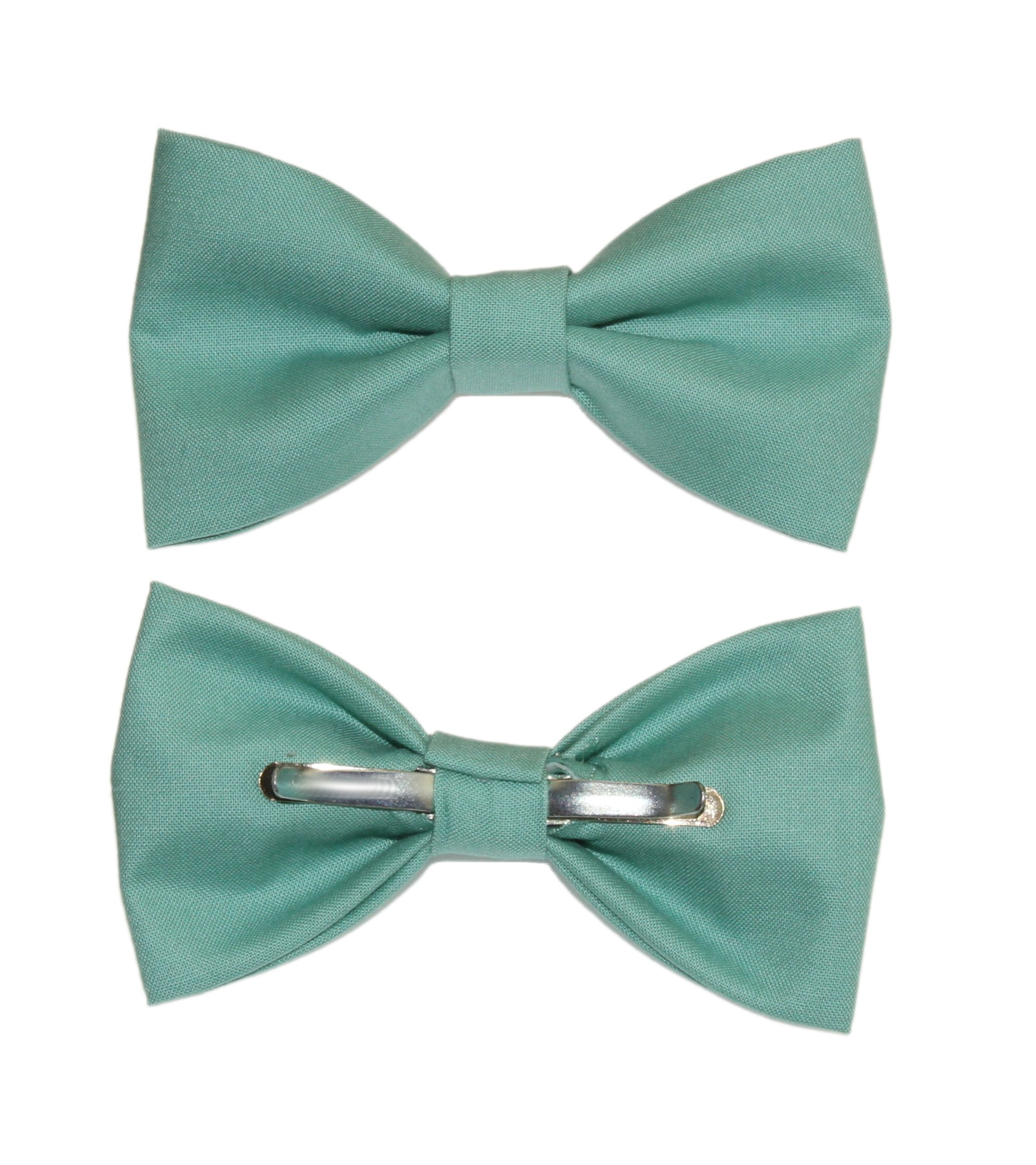 Men's Sage Green Clip On Cotton Bow Tie Bowtie amy2004marie