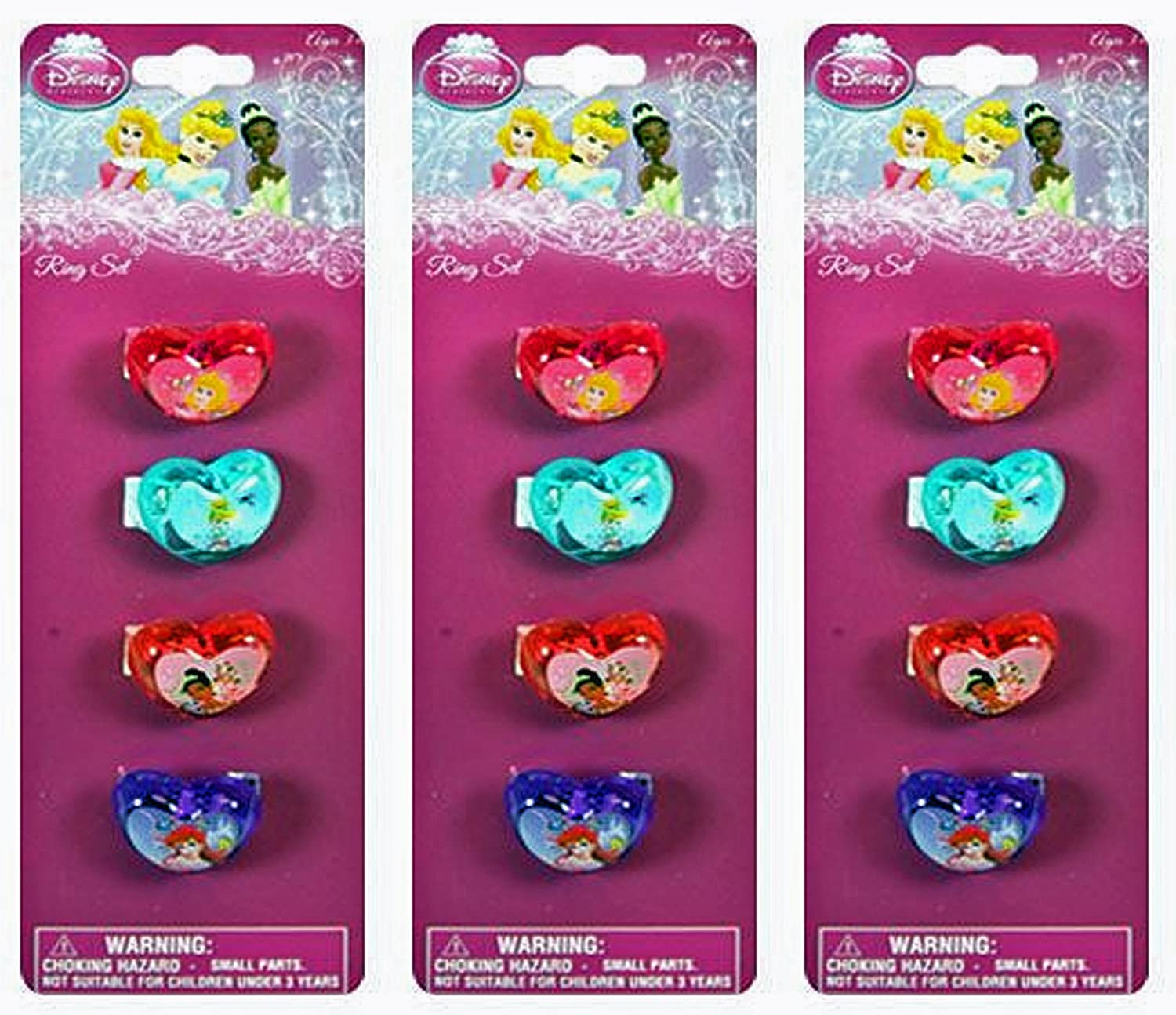 Amazon.com: 12-Piece Disney Princess Plastic Heart-Shaped Rings ...
