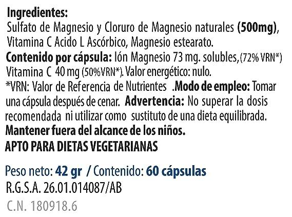 MSI Magnesio Natural con Vitamina C - 60 Cápsulas: Amazon.es: Salud y cuidado personal