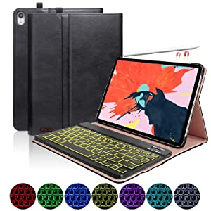 iPad Pro 11 Case with Keyboard 2018, Leather PU Sewing Case Detachable 7 Color Backlit Wireless Keyboard - iPad Pro 11 Keyboard Case(Support Apple Pencil 2 Charging),Backlit Keyboard_Black