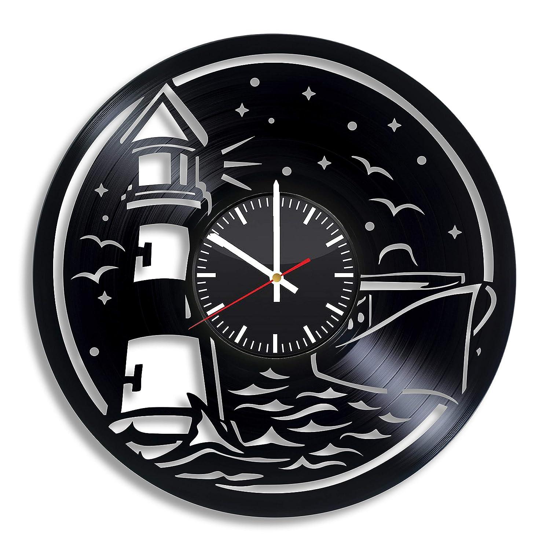 Lighthouse Decor Clock, Nautical Wall Decor, Lighthouse Wall Art, lighthouse charm, lighthouse decorations, beach decor, vinyl clockmm