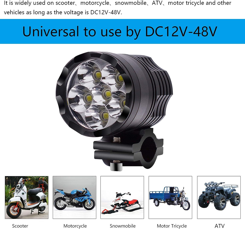 45W - 2pcs // set Greenwayyd Phares auxiliaires LED de moto avec phare avant antibrouillard 45W 6000K pour ATV Scooter Snowmobile DC12V