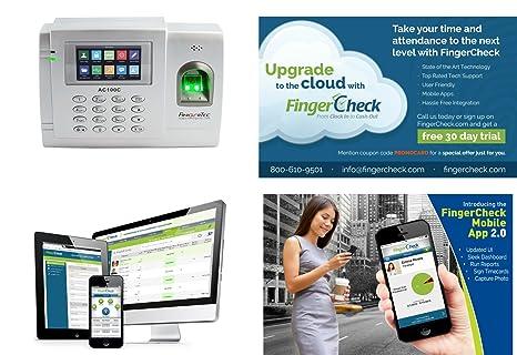 fingertec ac100 C – empleado reloj de tiempo biométrico de huellas digitales/opcional mejora de