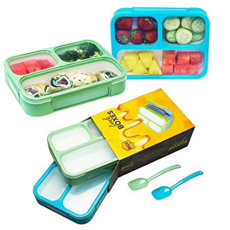 f6751c02296d Bizz Bento Lunch Boxes with Spoon (2-Pack) 3-Compartment Leakproof Food  Storage Container, Work, Home, School, Meal Prep, Portion Control, Dry or  ...