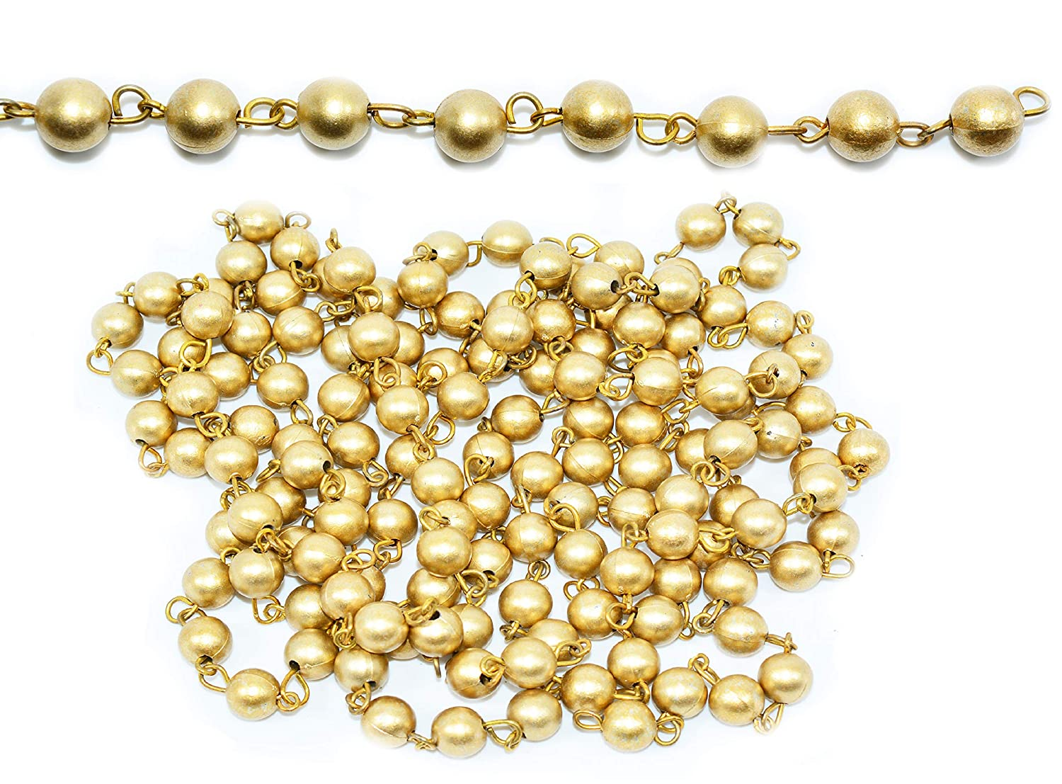 Goelx 5 Mtr Rosary Pearl Link Chain Garland Bead Size 8mm For