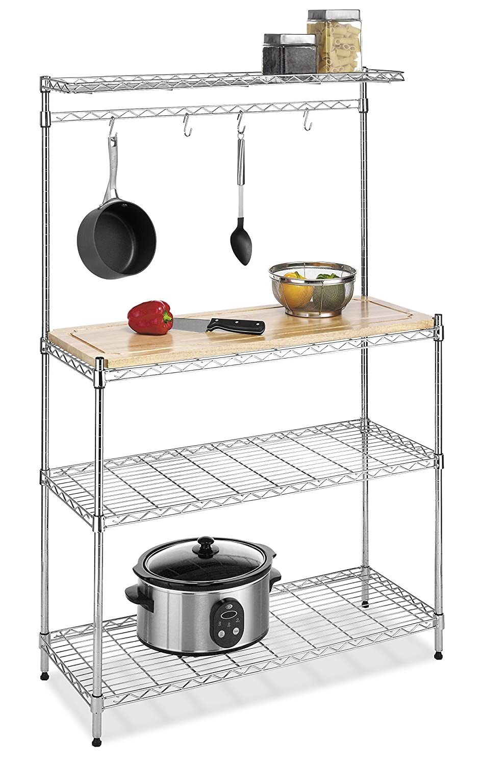 Steel Shelf For Kitchen Amazoncom Whitmor Supreme Kitchen Bakers Rack Wood Chrome