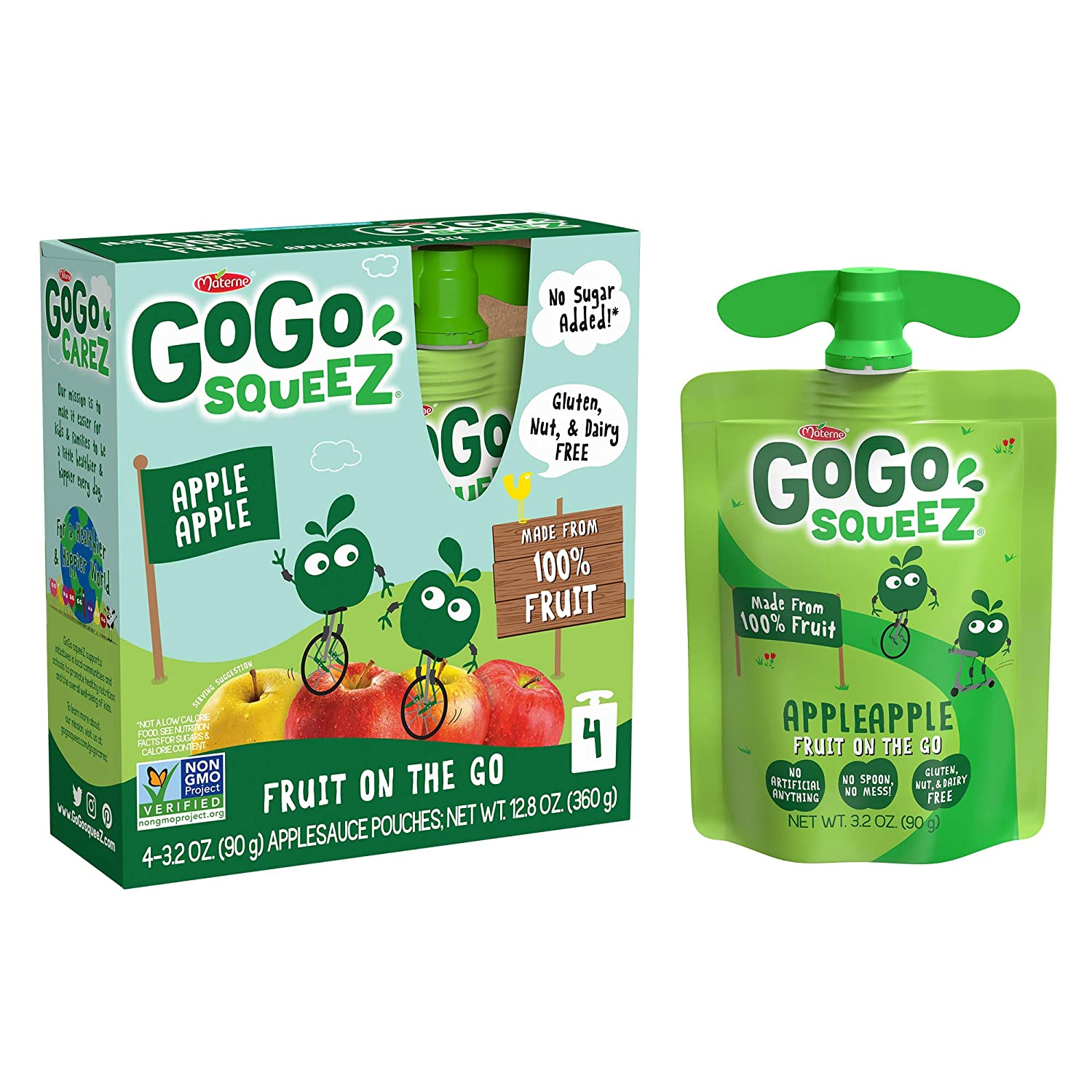 GoGo squeeZ Applesauce, Apple Apple, 3.2 Ounce (4 Pouches), Gluten Free, Vegan Friendly, Unsweetened Applesauce, Recloseable, BPA Free Pouches