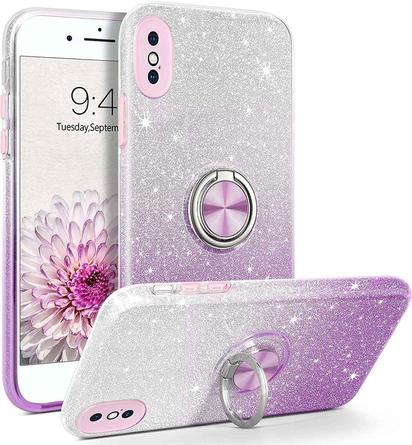 BENTOBEN iPhone X Case, iPhone Xs Case, Glitter Sparkly | 360° Ring Holder Kickstand | Magnetic Car Mount Dual Layer Shockproof Protective Girls Women Case Cover for iPhone X/Xs 5.8 Inch, Purple