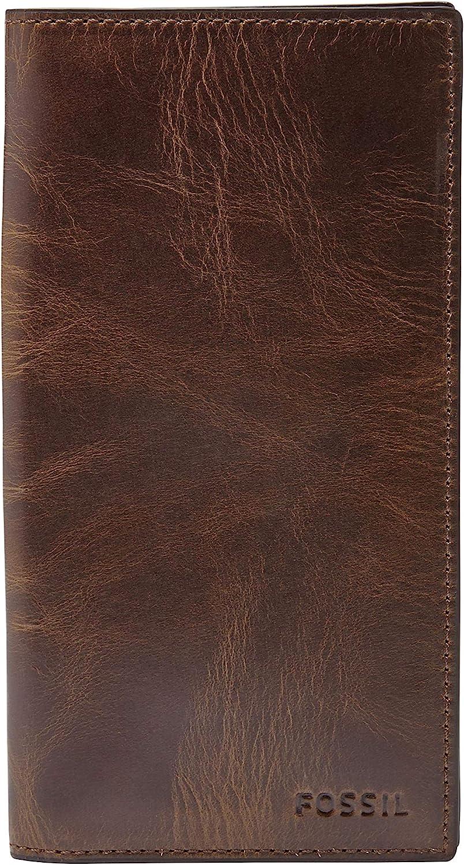 Fossil Men's Derrick Leather Checkbook Wallet, Dark Brown