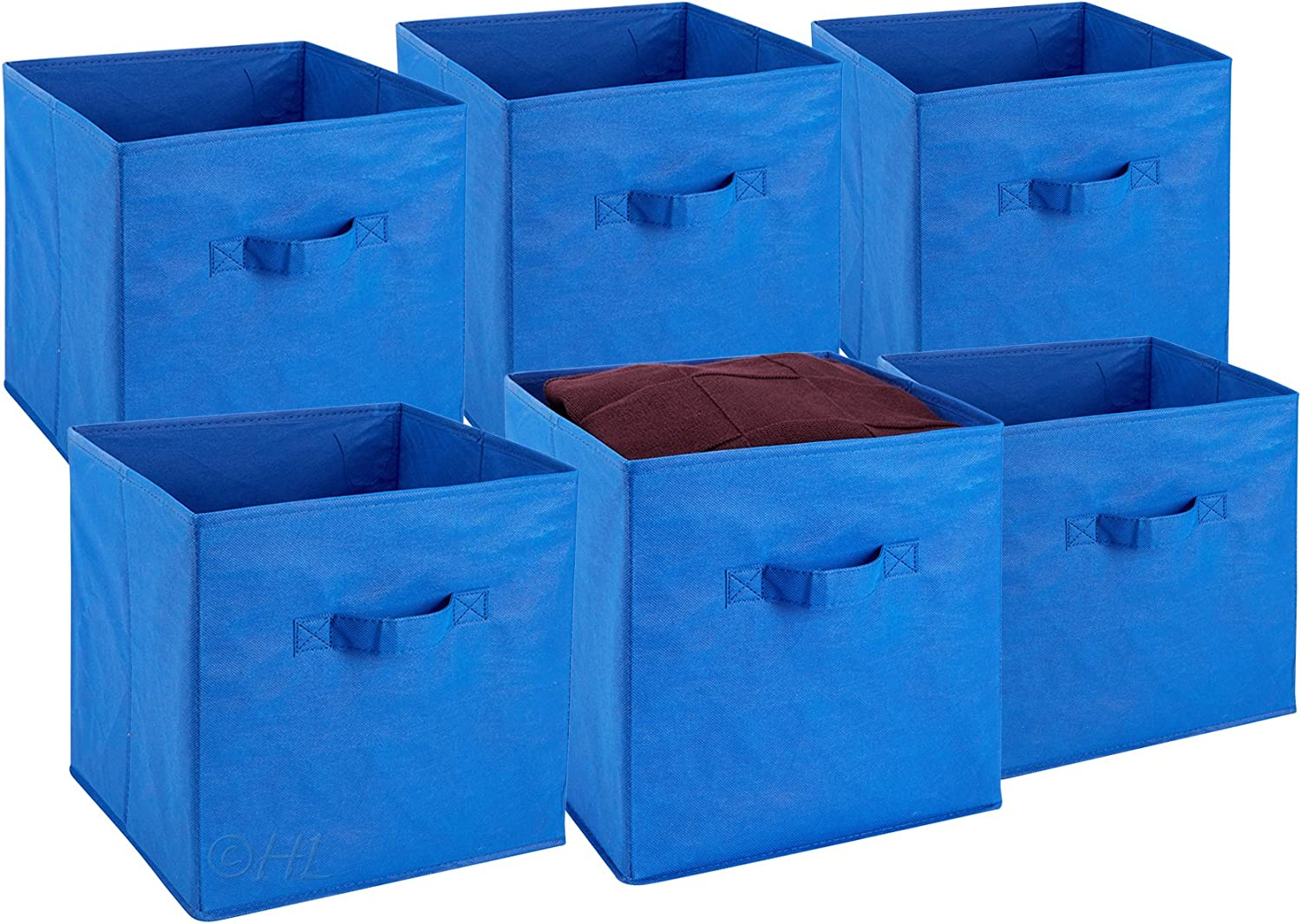 Foldable Cube Storage Bins - 6 Pack - These Decorative Fabric Storage Cubes are Collapsible and Great Organizer for Shelf, Closet or Underbed. Convenient for Clothes or Kids Toy Storage (Blue)