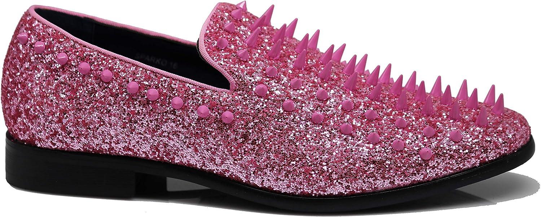 SPK09 Mens Vintage Spike Dress Loafers Slip On Fashion Shoes Classic Tuxedo Dress Shoes