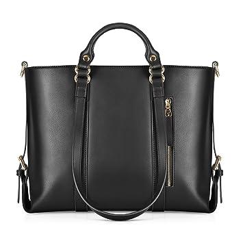 c113c81cfa1 Amazon.com: Kattee Urban Style 3-Way Women's Genuine Leather Shoulder Tote  Bag, Black: Clothing