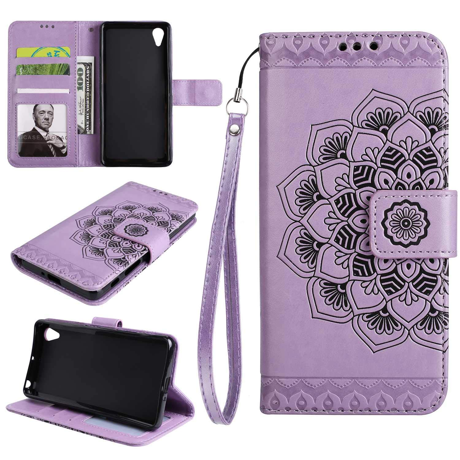 Gray The Grafu Flip Leather Wallet Cover Card Slot Holder with Kickstand and Metal Magnetic Closure for Sony Xperia X Performance Sony Xperia X Performance Case