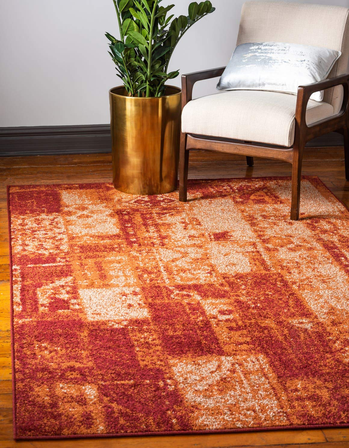 Unique Loom Autumn Collection Vintage Rustic Casual Warm Toned Terracotta Area Rug 5 0 x 8 0