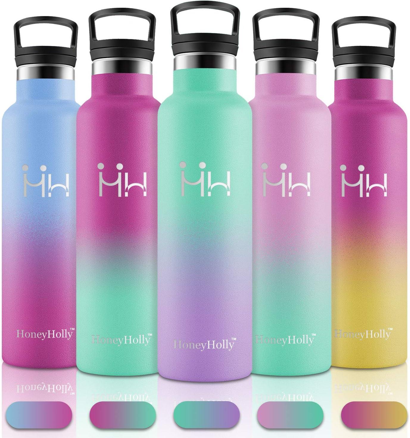 HoneyHolly Botellas Agua Acero Inoxidable, 750ml Reutilizable sin BPA Termos, Personalizada Cantimploras Botella para Niños, Bebé, Deportiva, Gimnasio, Bicicleta, Tazas Cafe Térmicas