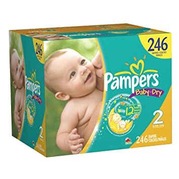 Amazon.com: Pampers Baby Dry Diapers Size 2 Economy Pack Plus, 246 ...